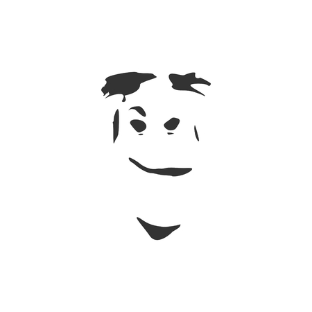 Man has a grin as if he was reacting to something he saw or just came up with a bad idea. Human emotions expression vector illustration. Isolated avatar of the emotional face.