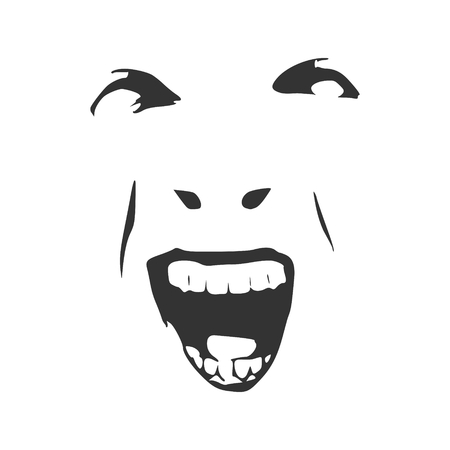 Demonic ugly face. Devil scream character. Demon or monster screaming with in an open mouth as a front view horror face.