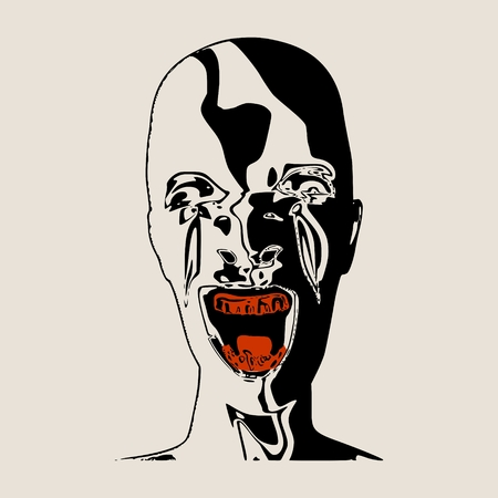 Demonic ugly face. Devil scream character. Demon or monster screaming with in an open mouth as a front view horror face. . Head textured by curved stripes Illustration