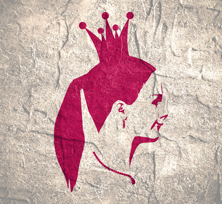 Profile view silhouette of a princess or queen. Cute adolescent girl portrait. Fashion branding emblem. Distress grunge texture Stock Photo - 84284774