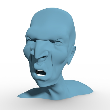 Demonic ugly face. Devil scream character. Demon or monster screaming with in an open mouth as a front view horror face. 3D rendering