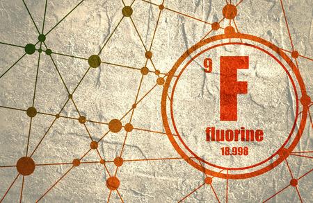 Fluor chemisch element. Bord met atoomnummer en atoomgewicht. Chemisch element van het periodiek systeem. Molecuul En Communicatie Achtergrond. Verbonden lijnen met stippen. Stockfoto