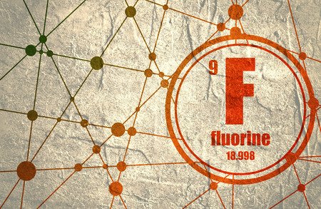 Fluorine chemical element. Sign with atomic number and atomic weight. Chemical element of periodic table. Molecule And Communication Background. Connected lines with dots. Stock Photo