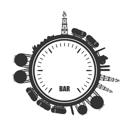 Circle with energy relative silhouettes. Design set of natural gas industry. Objects located around the manometer circle.