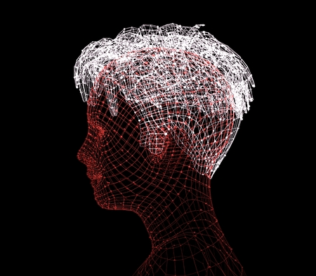 futuristic: Head of the person from a 3d Grid. Human head wire model. Polygonal geometric face design. 3D rendering.