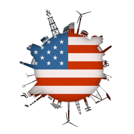 Circle with industry relative silhouettes. Objects located around the circle. Industrial design background. Flag of USA in the center. 3D rendering. Stock Photo