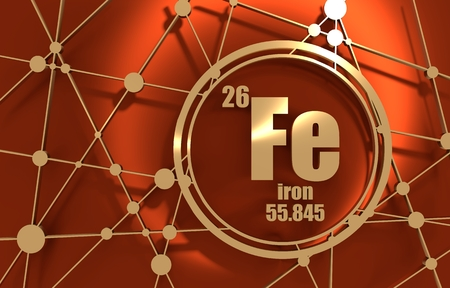 IJzer chemisch element. Bord met atoomnummer en atoomgewicht. Chemisch element van het periodiek systeem. Molecuul En Communicatie Achtergrond. Verbonden lijnen met stippen. 3D-rendering.