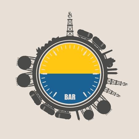 Círculo con siluetas relativas de energía. Conjunto de diseño de la industria del gas natural. Objetos ubicados alrededor del círculo del manómetro. Bandera de Ucrania Ilustración de vector