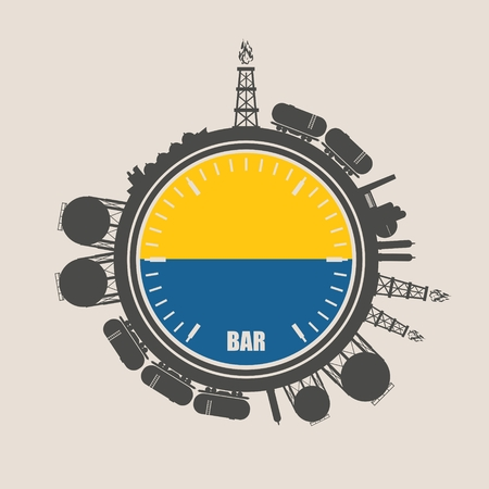 natural gas production: Circle with energy relative silhouettes. Design set of natural gas industry. Objects located around the manometer circle. Flag of the Ukraine Illustration