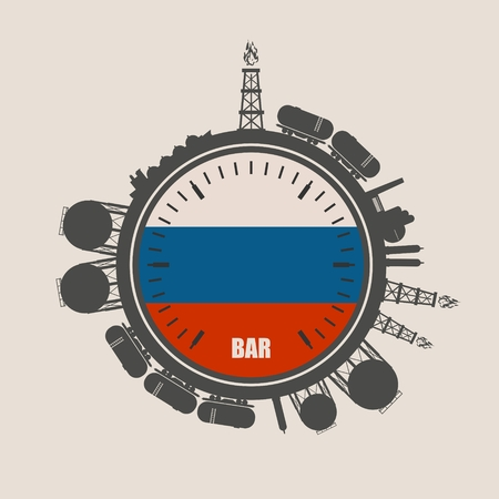 natural gas production: Circle with energy relative silhouettes. Design set of natural gas industry. Objects located around the manometer circle. Flag of the Russia Illustration
