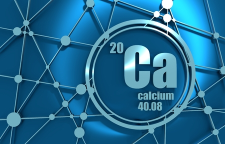 Calcium chemical element. Sign with atomic number and atomic weight. Chemical element of periodic table. Molecule And Communication Background. Connected lines with dots. 3D rendering.