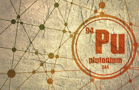 Plutonium chemical element. Sign with atomic number and atomic weight. Chemical element of periodic table. Molecule And Communication Background. Connected lines with dots. Stock Photo