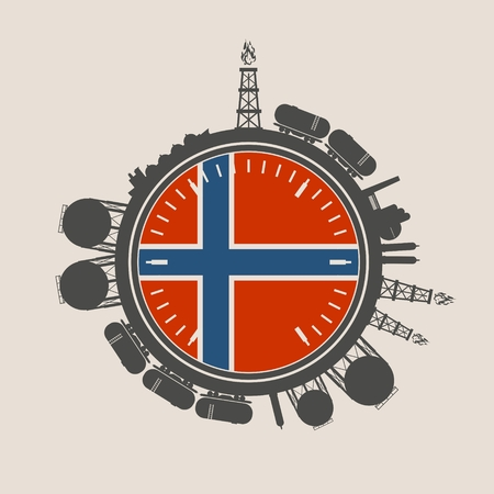 Circle with energy relative silhouettes. Design set of natural gas industry. Objects located around the manometer circle. Flag of the Norway