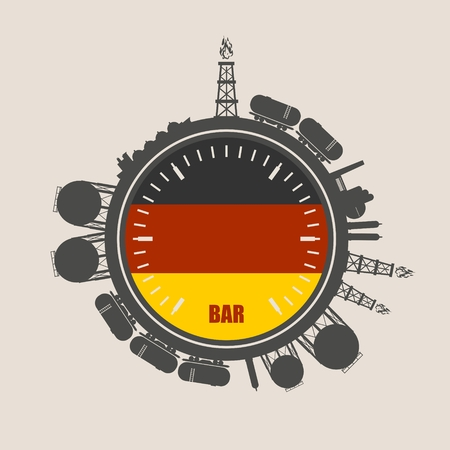 natural gas production: Circle with energy relative silhouettes. Design set of natural gas industry. Objects located around the manometer circle. Flag of the Germany