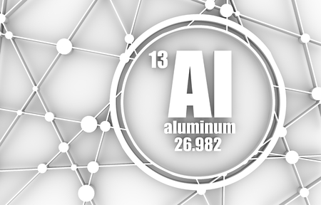 Aluminum chemical element. Sign with atomic number and atomic weight. Chemical element of periodic table. Molecule And Communication Background. Connected lines with dots. 3D rendering. Stock Photo