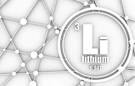 Lithium chemical element. Sign with atomic number and atomic weight. Chemical element of periodic table. Molecule And Communication Background. Connected lines with dots. 3D rendering.
