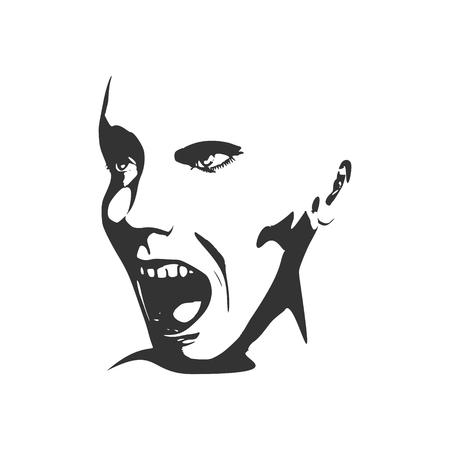 calavera caricatura: Ilustración del vector de la expresión de las emociones humanas. Aislado avatar de la cara de las expresiones. Ilustración emocional de la cabeza. Persona aterrorizada Vectores