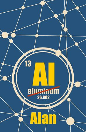 Alan common male first name instead chemical element Aluminum. Chemical element of periodic table. Molecule And Communication Background. Connected lines with dots.