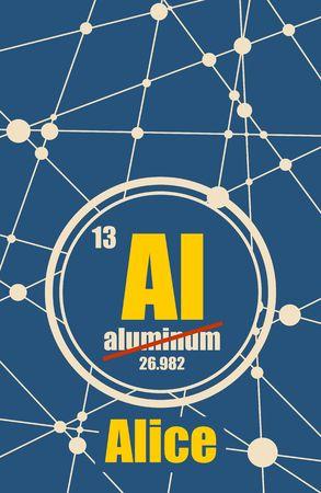 Alice - nome femminile comune, invece elemento chimico Alluminio. Elemento chimico della tavola periodica. Molecola e sfondo di comunicazione. Linee collegate con punti.