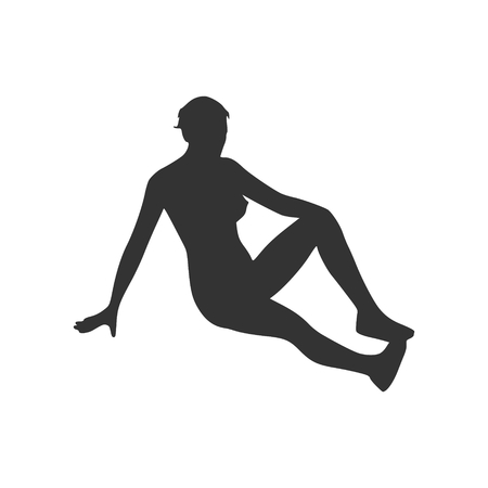 Black silhouette illustration of a woman lying on the floor.