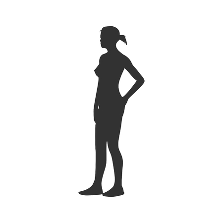 waistline: Young lady standing Vector Illustration