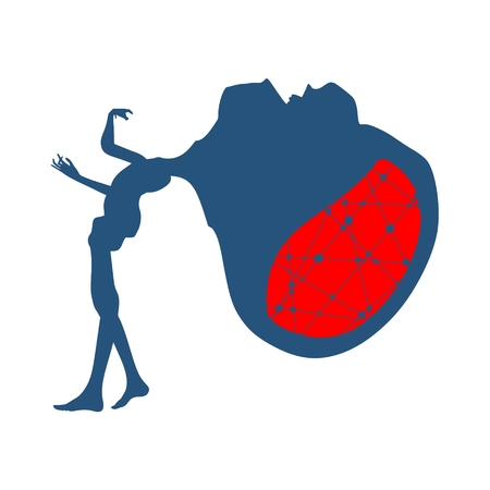 Posing zombie silhouette with abnormally enlarged head Illustration