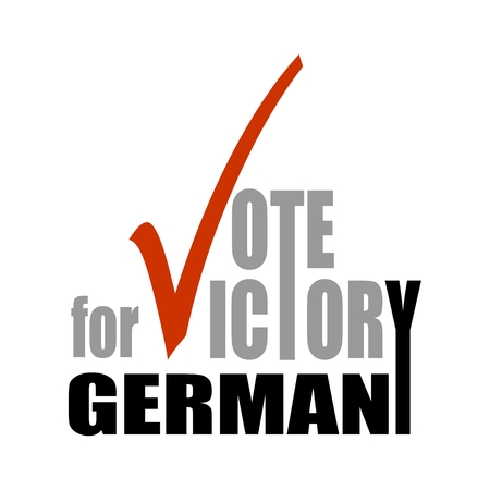 A vector illustration of an elections motivation quote - Vote for victory, Germany. Vector illustration