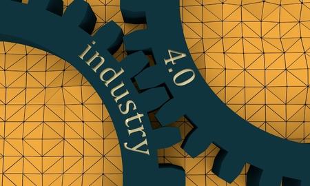 Industria cuatro punto cero texto sobre el mecanismo de engranajes. Concepto de comunicación en el diseño industrial. Plantilla de diseño de folleto moderno. Picos de formas poligonales. Fondo de mosaico poligonal. Representación 3D