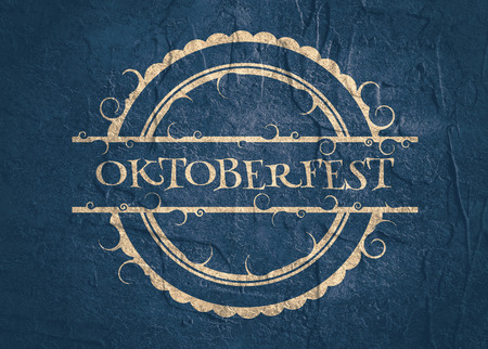 repeated: Oktoberfest relative stamp pattern. Round shape with text. Grunge distress texture.