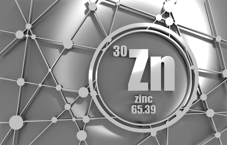 Zinc chemical element. Sign with atomic number and atomic weight. Chemical element of periodic table. Molecule And Communication Background. Connected lines with dots. 3D rendering. Stock Photo