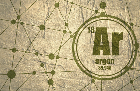 argon: Argon chemical element. Sign with atomic number and atomic weight. Chemical element of periodic table. Molecule And Communication Background. Connected lines with dots. Grunge distress texture. Stock Photo