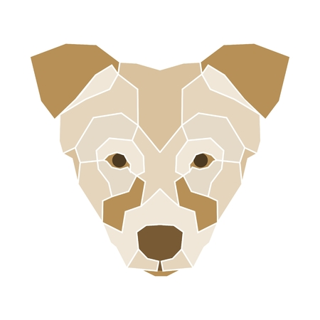 Symmetrical vector illustration of dog. Made in low poly triangular style.