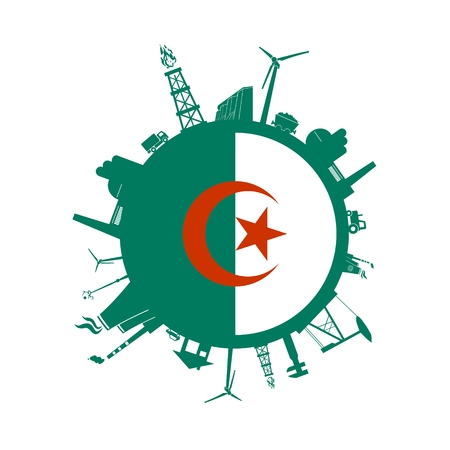 Circle with industry relative silhouettes. Vector illustration. Objects located around the circle. Industrial design background. Algeria flag in the center.