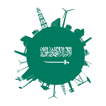 house logo: Circle with industry relative silhouettes. Vector illustration. Objects located around the circle. Industrial design background. Saudi Arabia flag in the center.