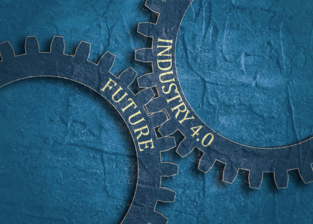 Industry four point zero text on the mechanism of gears. Communication concept in industrial design. Modern brochure design template. Grunge distress texture. Foto de archivo