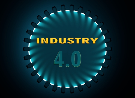 Industry four point zero text in the center of gear. Communication concept in industrial design. Modern brochure design template. Polygonal shapes peaks. Polygonal mosaic background. 3D rendering