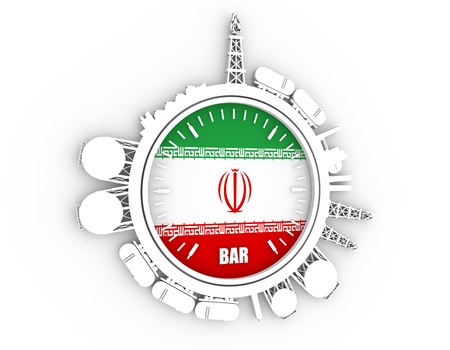 Circle with energy relative silhouettes. Design set of natural gas industry. Objects located around the manometer circle. 3D rendering. Flag of the Iran
