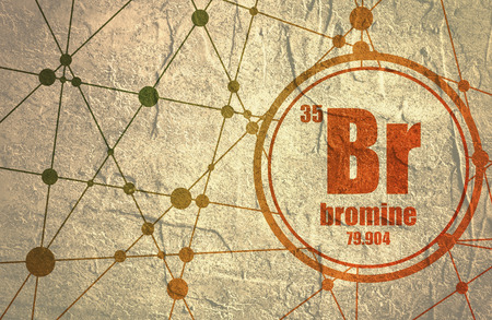 atomic number: Bromine chemical element. Sign with atomic number and atomic weight. Chemical element of periodic table. Molecule And Communication Background. Connected lines with dots. Grunge distress texture. Stock Photo