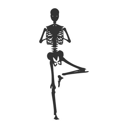 Human skeleton posing. Vector illustration. Halloween party design template Illustration
