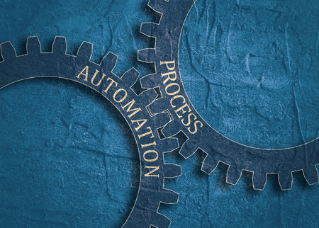 Process and Automation text on the mechanism of gears. Communication concept in industrial design. Modern brochure design template. Grunge distress texture.