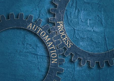 Texto de proceso y automatización sobre el mecanismo de engranajes. Concepto de comunicación en diseño industrial. Plantilla de diseño de folleto moderno. Textura de angustia de grunge. Foto de archivo - 85650706