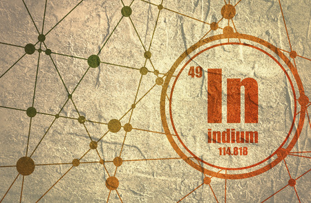 Indium chemical element. Sign with atomic number and atomic weight. Chemical element of periodic table. Molecule And Communication Background. Connected lines with dots. Grunge distress texture. Stock Photo