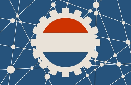 gears: Molecule And Communication Background. Modern brochure or report design template. Field for text as gear icon. Connected lines with dots. Technology and science background. Flag of the Netherlands