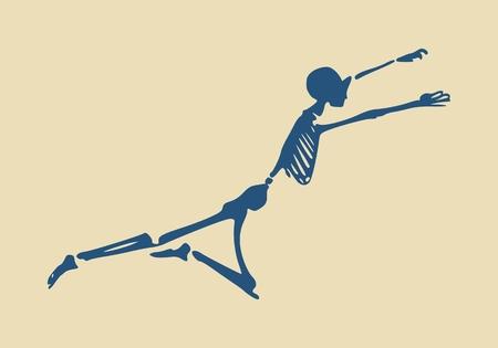 Human skeleton flying. Vector illustration. Halloween party design template