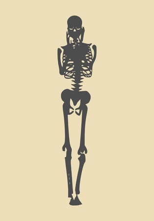 Human skeleton posing. Vector illustration. Halloween party design template Illustration