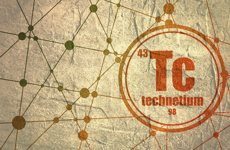 Technecium chemical element. Sign with atomic number and atomic weight. Chemical element of periodic table. Molecule And Communication Background. Connected lines with dots. Grunge distress texture.