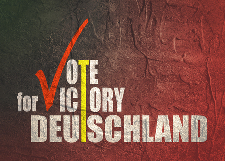An illustration of an elections motivation quote - Vote for victory, Deutschland. Translated from german as Germany. Grunge distress texture. Stock Photo