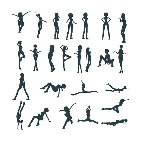 Set of  women silhouettes. Fashion mannequin. Collection of posing figures 向量圖像