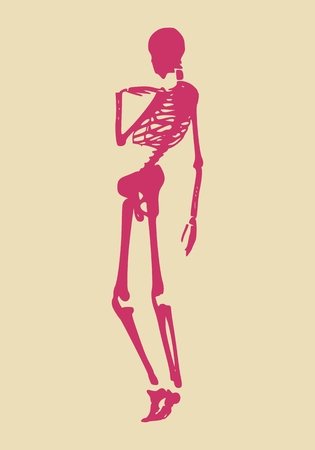 Confused human skeleton posing. Vector illustration. Halloween party design template Illustration
