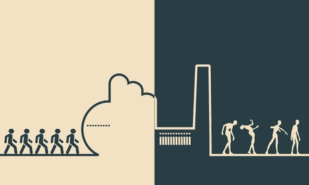 heavy industry: An outline of a factory on orange background. Workers going to the factory. People turn into zombies at the factory. Line art ecology concept